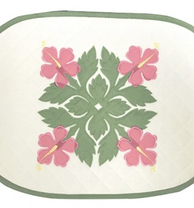 Hawaiian Quilt Placemat-Over-Hibiscus Cream Pink