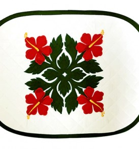 Hawaiian Quilt Placemat-Over-Hibiscus Cream Red