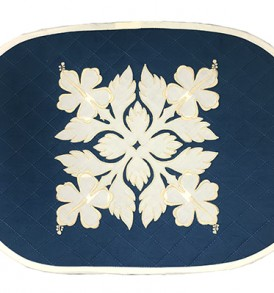 Hawaiian Quilt Placemat-Over-Hibiscus Navy