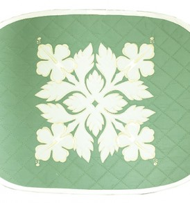Hawaiian Quilt Placemat-Over-Hibiscus Sage