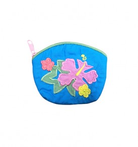 Quilted Coin Purse Small- Hibiscus & Monstera Blue Pink