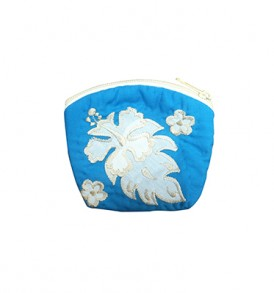 Quilted Coin Purse Small- Hibiscus & Laua'e Blue White