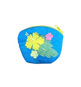 Quilted Coin Purse Small- Hibiscus & Laua'e Blue Yellow