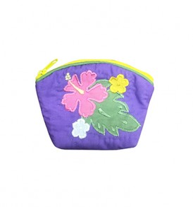 Quilted Coin Purse Small- Hibiscus & Laua'e Purple Pink