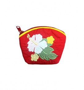 Quilted Coin Purse Small- Hibiscus & Laua'e Red White