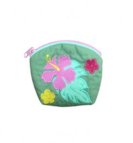 Quilted Coin Purse Small- Hibiscus & Laua'e Sage Pink