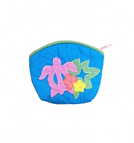 Quilted Coin Purse Small- Honu & Monstera Blue Pink