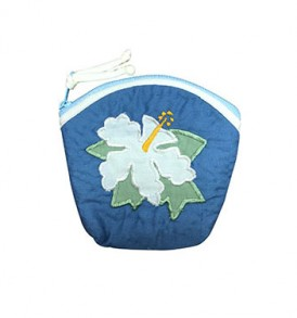 Quilted Coin Purse Large – Hibiscus Blue Cream