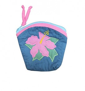 Quilted Coin Purse Large – Hibiscus Blue Pink