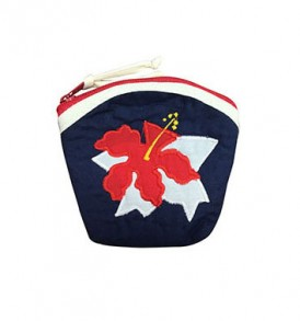 Quilted Coin Purse Large – Hibiscus Navy Red
