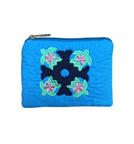Quilted Coin Purse Square – Honu Tapa Blue Green