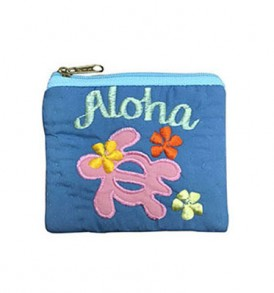Quilted Coin Purse Square – Aloha Honu Blue Pink