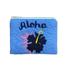 Quilted Coin Purse Square – Aloha Hibiscus Blue Navy