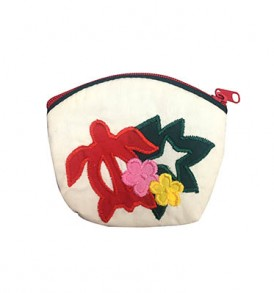 Quilted Coin Purse Small- Honu & Monstera Cream Red