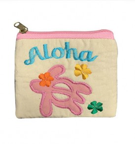 Quilted Coin Purse Middle – Aloha Honu Beige