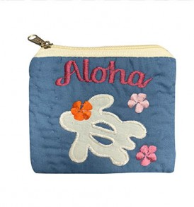Quilted Coin Purse Middle – Aloha Honu Blue