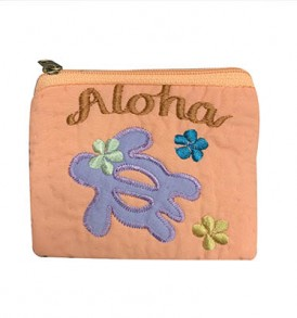Quilted Coin Purse Middle – Aloha Honu Coral