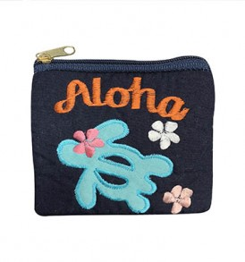 Quilted Coin Purse Middle – Aloha Honu Navy