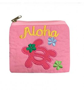 Quilted Coin Purse Middle – Aloha Honu Pink