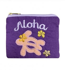Quilted Coin Purse Middle – Aloha Honu Purple