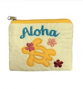Quilted Coin Purse Middle – Aloha Honu Yellow