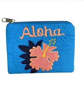 Quilted Coin Purse Middle – Aloha Hibiscus Blue