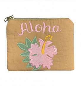 Quilted Coin Purse Middle – Aloha Hibiscus Brown Pink