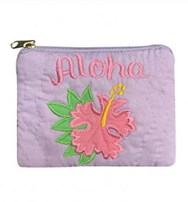 Quilted Coin Purse Middle – Aloha Hibiscus Light Purple Pink