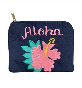 Quilted Coin Purse Middle – Aloha Hibiscus Navy