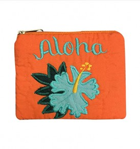 Quilted Coin Purse Middle – Aloha Hibiscus Orange