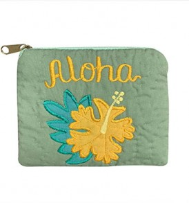 Quilted Coin Purse Middle – Aloha Hibiscus Sage