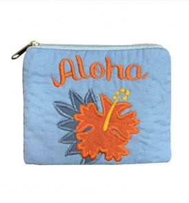 Quilted Coin Purse Middle – Aloha Hibiscus Sky Orange