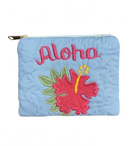 Quilted Coin Purse Middle – Aloha Hibiscus Sky Pink
