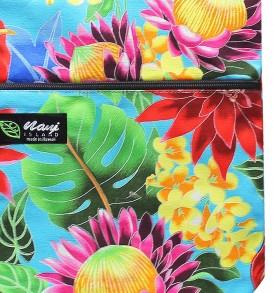 Tote Bag Zipper M – Hawaiian Garden Turq