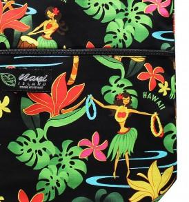 Tote Bag Zipper L – Hawaiian Hula Girl Black