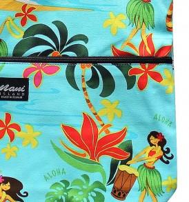 Tote Bag Zipper L – Hawaiian Hula Girl Turq