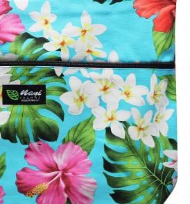 Tote Bag Zipper L – Luxury Hibiscus Turq