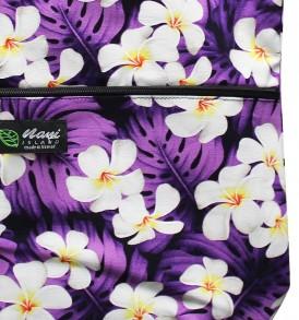 Tote Bag Zipper L – Modern Plumeria Purple