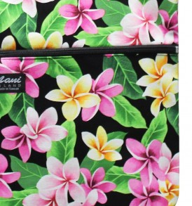 Tote Bag Zipper L – Tropical Plumeria Black