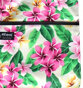 Tote Bag Zipper L – Tropical Plumeria Cream