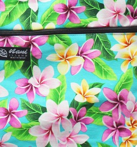 Tote Bag Zipper L – Tropical Plumeria Teal