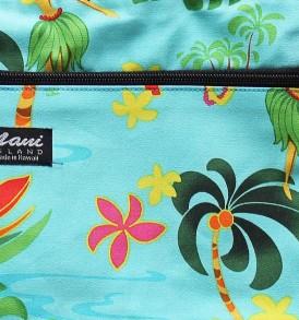 Tote Bag Zipper M – Hawaiian Hula Girl Turq
