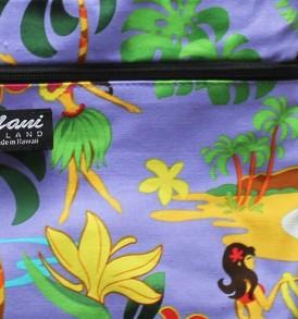 Tote Bag Zipper M – Hawaiian Hula Girl Purple