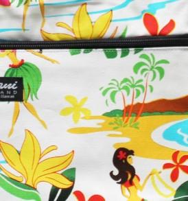 Tote Bag Zipper M – Hawaiian Hula Girl White