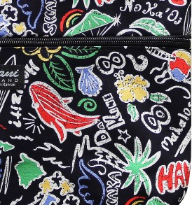 Tote Bag Zipper M – Hawaiian Fun Black
