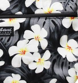 Tote Bag Zipper M – Modern Plumeria Black