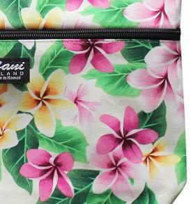 Tote Bag Zipper M – Tropical Plumeria Cream