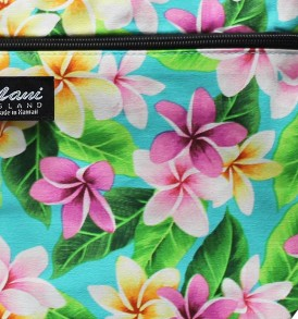 Tote Bag Zipper M – Tropical Plumeria Teal