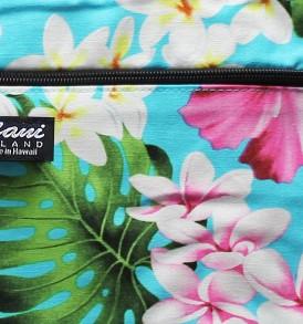 Tote Bag Zipper M – Luxury Hibiscus Turq