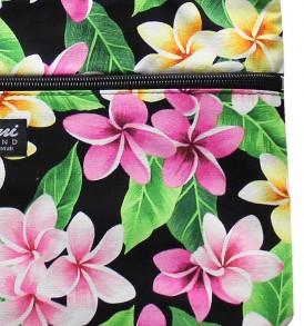 Tote Bag Zipper M – Tropical Plumeria Black